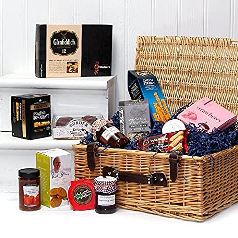 The Noble Luxury Wicker Hamper Basket with 13 Items from Fine Food Store - Perfect for Corporate and Thank You