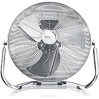 Brandson Macchina del vento/L'originale Superventilatore/Ventilatore da 50cm | 3-livelli di potenza | 120W di potenza max assorbita | Design Retro/Cromo | Argento