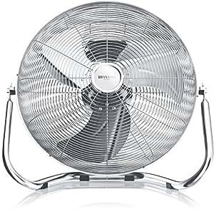 Brandson Macchina del vento/L'originale Superventilatore/Ventilatore da 45cm | 3-livelli di potenza | 120W di potenza max assorbita | Design Retro/Cromo | Argento