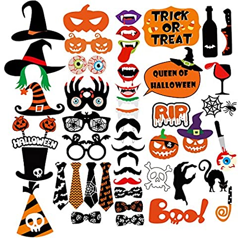 Tinksky Halloween Party Photo Booth Props Creative Happy Halloween Pose Sign Kit pour Décoration Décontractée 47-pack