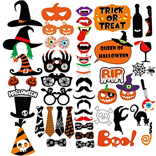 LUOEM Halloween Foto Booth Props Fotorequisiten Fotoaccessoires Lustige Party Foto Booth Props Kit für Party Dekorationen (Halloween Props)