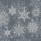 Tisch Design 20 Servietten Schneeflocke Kugeln Taupe Weihnachten Winter Schnee Merry Christmas 33 x 33cm