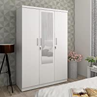 Home Centre Helios Reynan White Compressed Wood 3 Door Wardrobe With Mirror