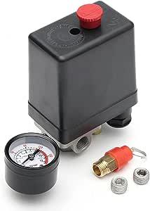 Masunn 220v 1 10 4 Port Einphasiger Luftkompressor Druckschalter Mit Sicherheitsventil Anzeige Baumarkt