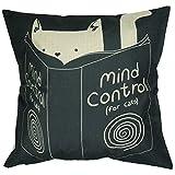 """Luxbon Funda de Cojín Almohada Lino Duradero Animal Gato con Libro Mind Control Decoración para Sofá Cama Coche 18x18"""" 45x45 cm"""