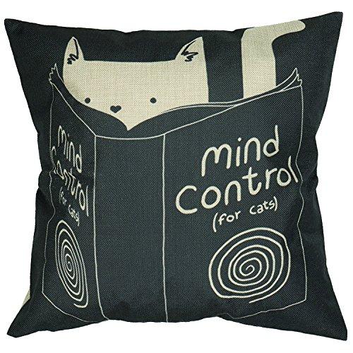 Luxbon Funda de Cojín Almohada Lino Duradero Animal Gato con Libro Mind Control Decoración para Sofá Cama Coche 18x18