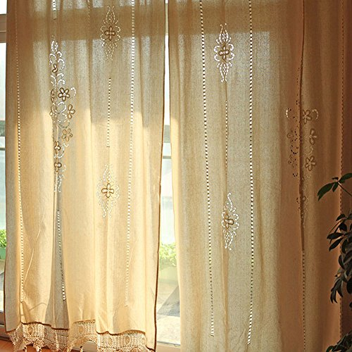 OurWarm Cotton Shower Curtain Linen Crochet Curtain Panel Blackout Curtain 102 x 70 Inch (Blackout-panels)