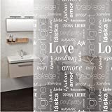 Cortina para baño impermeable transparente love 180X180