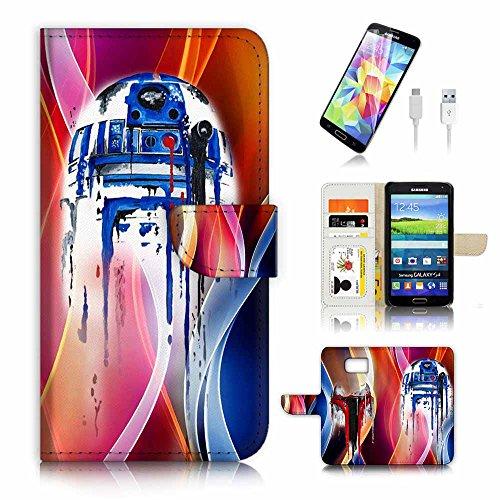 Samsung Galaxy S7Flip Wallet Schutzhülle & Displayschutzfolie & Ladekabel Bundle. A3904Krieg der Sterne BB8Helm