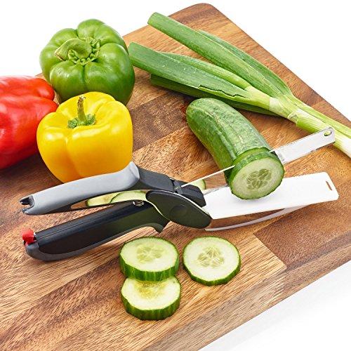 16 43 45 couteau ciseau de cuisine 2en1 multifonctions planche intgre coupe lgume express - Coupe legumes multifonction ...