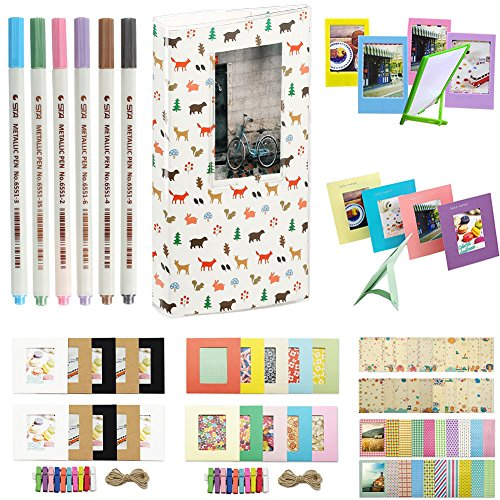 Katia Sofortbildkamera Instax Mini 8 Zubehör - Mini Buch Album - Mini 8 Camera Strap - Bilderrahmen - Film-Aufkleber Border - Wand-Dekor Hängerahmen - Foto Pens Set 14 - Wald & Tiere (14 Wand-aufkleber)