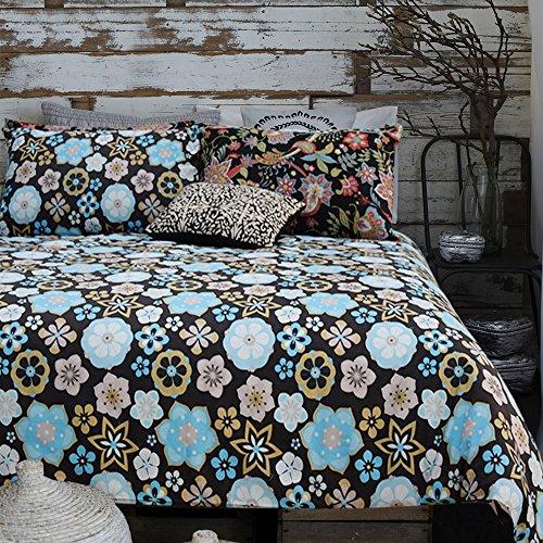 Baumwolle Streifen-kissen-sham (Merryfeel, Bettwäschegarnitur, 100 % mit Blumenmuster bedrucktes Bettbezug-Set, baumwolle, multi, (Double Set)200x200+2x50x75cm)