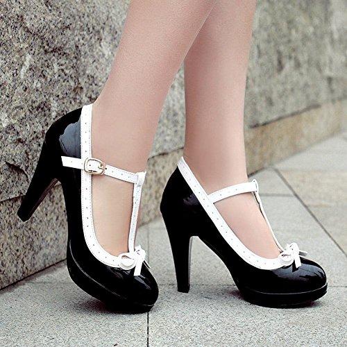 Mee Shoes Damen modern süß populär t-strap Schnalle mit Schleife runder toe Lackleder Plateau Pumps mit hohen Absätzen Schwarz