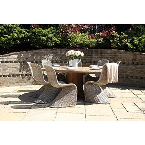 619EwarzovL. SS500  - Inspiring Furniture LTD Reclaimed Teak Garden Character Table 1.8m Natural Kubu Wicker Zorro Dining Chairs
