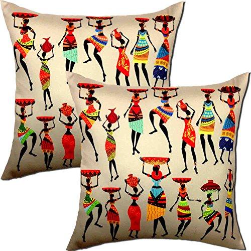 Viceroy, African Girls Designer Theme Digital Print 3D Standard Size Cushion Covers...