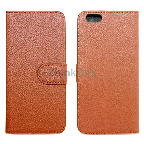 ZhinkArts Flip Case Tasche Handyschale Schutzhülle Etui für Apple IPhone 6/6S Rot Braun