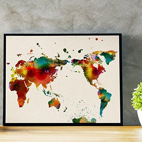 Nacnic Bild zum Einrahmen WELTKARTE. WELTKARTE. Poster im Aquarellstil mit Bildern der Welt. Bild mit Weltkartenmotiv. Innendekoration. Hochwertiges Papier 250g/qm - 30x40cm - Modell B