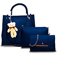 Fargo PU Leather Latest Handbags For Women's Ladies Combo Of 3 (Blue_Teddy_FGO-249)