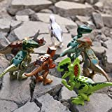 JZK 8 pcs set toy dinosaur blocks building figures minifigures for kids, movable head mouth hands feet, non-toxic child safe (normal colour)
