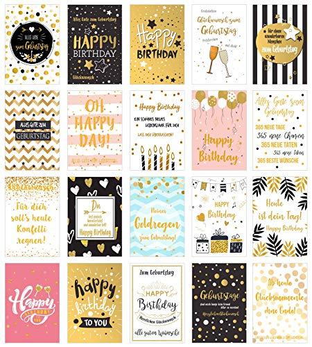Set 20 exklusive Premium Geburtstagskarten mit feiner Goldprägung und Umschlag. Glückwunschkarte Grusskarte zum Geburtstag Geburtstagskarte Mann Frau Karten Happy Birthday Billet Spruch Sprüche