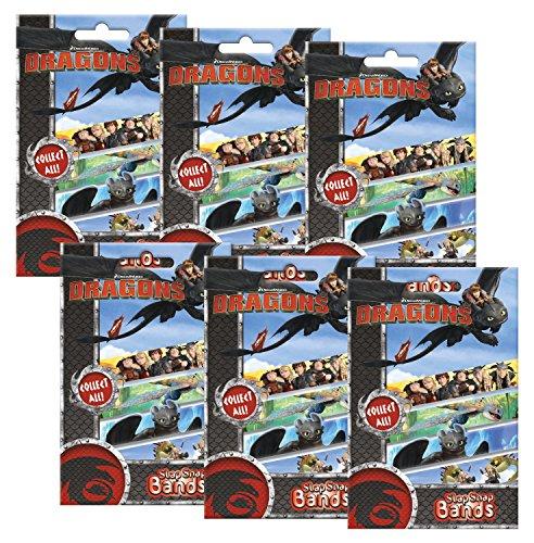 Preisvergleich Produktbild Craze 55107 - Mini Slap Snap Bands, DreamWorks Dragons, 6 Foilbags, sortiert