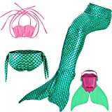 LIKEEP Meerjungfrauenschwanz Mermaid Bikini Kostüm zum Schwimmen mit Meerjungfrau Flosse