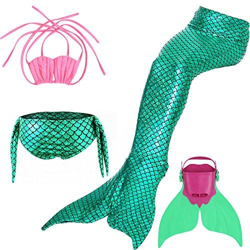 Likeep Meerjungfrauenschwanz Mermaid Bikini Kostüm zum Schwimmen mit Meerjungfrau Flosse Für Mädchen, Kinder (Rosa + Grün, 130)