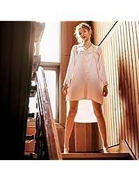 LPPKZQ-verano Lady's Camisón camisón de seda seda de hielo y viento en Europa camiseta de seda sexy slim plus size Cardigan Pajama,Código:,Rosa