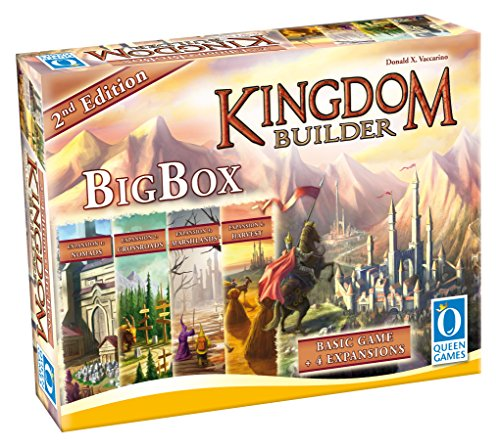 Queen Games 10363 - Kingdom Builder Big Box 2nd Edition - Basisspiel mit allen Erweiterungen und Queenies