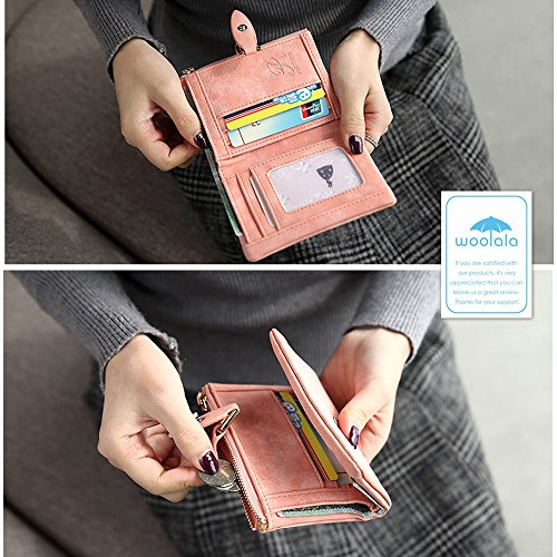 Woolala Nubuck Slim Compact Raccoglitore Della Tasca Delle Donne Per Contanti, Carte, Cambio Dell'Organizzatore Del Supporto Foglia-Snap Piccola Borsa, Blu Blu