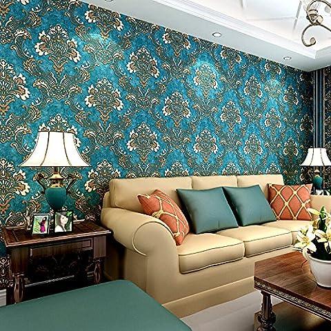 3d-beflockung dunkel-blau Damast wand Tapeten Rollen für Betten Zimmer TV Hintergrund 3d Wall Paper rol, Vintage blau, 53cmx10m