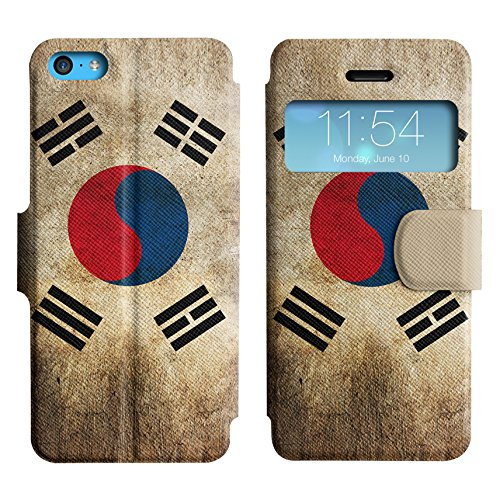 Graphic4You Vintage Uralt Flagge Von Hong Kong Flag Design Leder Schützende Display-Klappe Brieftasche Hülle Case Tasche Schutzhülle für Apple iPhone 5C Südkorea Südkoreanischer