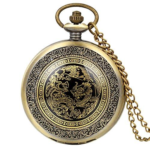 Avaner Reloj de Bolsillo de Dragon y Fénix Reloj Bronce de Colgante Con Cadena Larga, Retro Vintage Reloj de Bolsillo Cuarzo Original Regalo Para Hombre Mujer