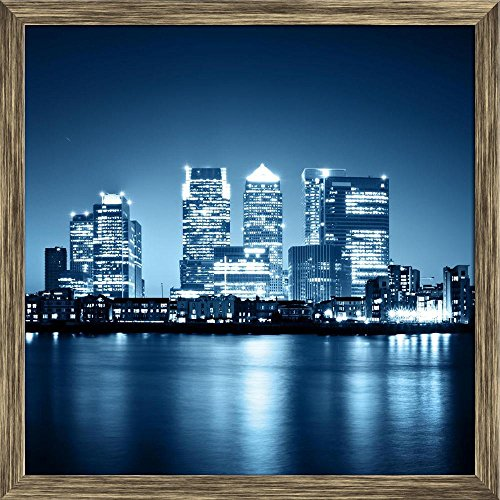 Pitaara Box Canary Wharf View from Greenwich, London, Uk Canvas Painting Antique Golden Frame 24 X 24Inch