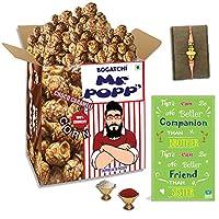 BOGATCHI Mr.POPP's Dark Chocolate Popcorn, 100% Crunchy HandCrafted Gourmet Popcorn Snacks | NO Microwave needed | Best Movie / TV Time Snack, Best Rakhi Gift for Bhai , 375g + FREE Happy Rakhi Greeting Card + FREE Rakhi