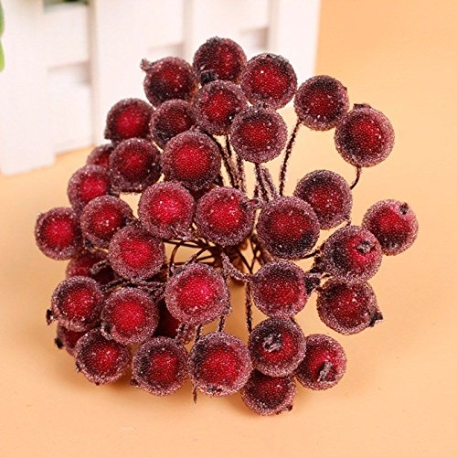 Starworld6 Starworld Christmas Artificial Fruit Berry Holly Flower Pick for DIY Head Floral Home, Wedding, Party, Birthday Decoration / Wine Red