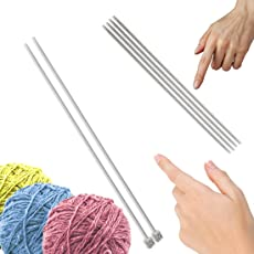 Knitting needle - no 12 single sided, dia - 3mm, length - 25 mm, pair of 2 and no 12 double sided, dia - 3mm, length - 25 mm, pair of 4, aluminium, for making woolen artefacts like sweaters, muflers, caps