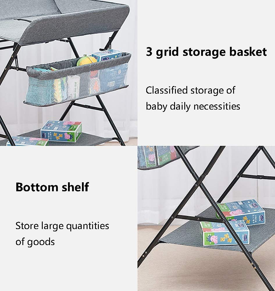 Baby Changing Table, Multifunction Massage Table with Storage, Diaper Station Collapsible GUYUE Storage: Storage basket, bottom shelf. Steel pipe + Oxford cloth + Waterproof support plate.(The diaper table has a bearing capacity of 20kg.) Size- As shown, 74x63x93cm(1cm=0.39 inch) Suitable for babies weighing less than 20kg. 5
