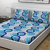Indiana Home 100% Cotton Double Bed Sheet With 2 Pillow Cover| Blue | Geometric