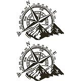 circulor 2 Pcs Pegatina Coche, Etiqueta engomada del Coche Rosa de los Vientos Navegar montaña calcomanía De Etiqueta De Vini