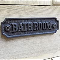 Vintage style cast metal bathroom door sign