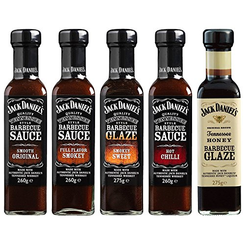 Jack Daniel's - Grillsaucen & BBQ Glaze Probierpaket - 5 Flaschen im Set (1330g) - Smooth Original, Full Flavor Smokey, Smokey Sweet, Hot Chilli, Tennessee Honey - Daniels Lichter Jack