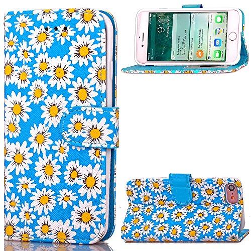 High Quality Case en cuir PU, fleur de chrysanthème Motif Wallet Case Support Window Case photo pour l'iPhone 7 ( Color : Green , Size : IPhone 7 ) Blue