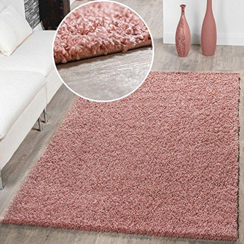 T&T Design Moderner Hochflor Teppich Shaggy Einfarbig Dicht Gewebt Qualität Pink, Größe:140x200 cm -