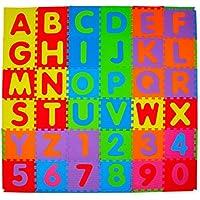 36 piece I numeri analcoliche e Alphabet tappeti gioco con bordo - Interlocking Mat Schiuma per bambini - Attività Playmats Puzzle - Piano di protezione - schiuma EVA gomma Numbers Mat - 0 - 9 e Alphabet stuoie A-Z = 36 Piastrelle in totale in borsa per il trasporto.