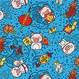 Blauer Stoff mit Schweinen und chinesischem Neujahrsfest