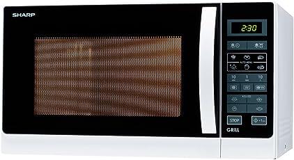 Sharp 2-in-1 Mikrowelle und Grill/900 W/25 L/Grillfunktion/LED-Anzeige/Auto-Menü-Optionen/Gewicht- und zeitgesteuertes Auftauen/Kindersicherung