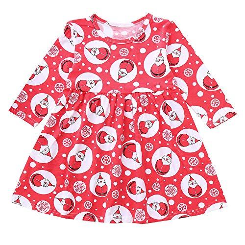 Beginfu Weihnachten Kleinkind Kind Baby Mädchen Langarm Schneemann Print Kleid Weihnachten Outfits Kleidung Kind Herbst Kleidung tickerei Prinzessin Langarm T-Shirts Party Kleid Mini Kleid
