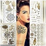 Metallic temporäre Tattoos 10Blatt 150+ Flash Metallic Tattoos Gold Boho Tattoo Henna Tattoo Mandala Tattoo Fake Schmuck Tattoos wasserdicht Tattoo