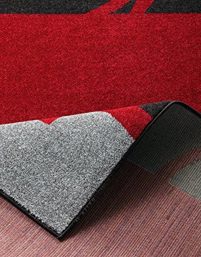 Hanse Home 101540 3-teilig Bettumrandung Teppich Lectus Bettläufer Bettbrücke, Polypropylen, rot dunkelbraun grau, 70 x 140 x 0.8 cm